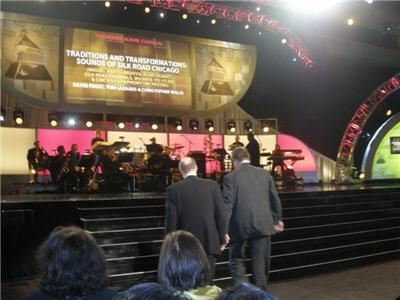 Approaching the stage with Chris Willis for their shared Grammy for Best Engineered Album, Classical