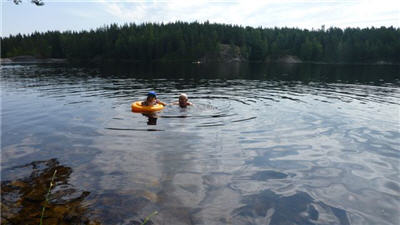 Lars Olaf and Tor Olaf at Nordmarka lake in Oslo
